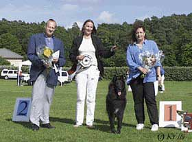 Best in Show, Gothenburg 1999. From left: Mr Regis Lebon, Carin Lyrholm, Chili, Mme Pauline Stern-Hanf